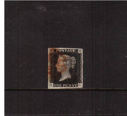 view larger image for SG 2 (1840) - 1d Black from Plate 1a lettered ''L-G''<br/>