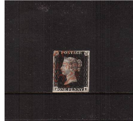 view larger image for SG 2 (1840) - 1d Black from Plate 6 lettered ''F-E''<br/>