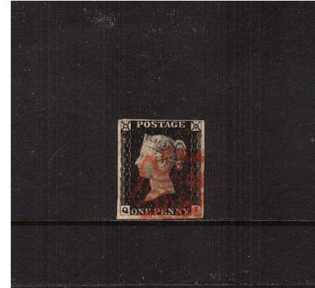 view larger image for SG 2 (1840) - 1d Black from Plate 2 lettered ''Q-I''<br/>