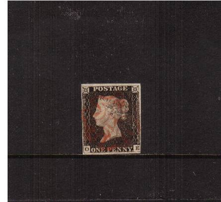 view larger image for SG 2 (1840) - 1d Black from Plate 3 lettered ''O-E''<br/>