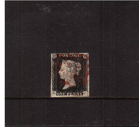 view larger image for SG 2 (1840) - 1d Black from Plate 2 lettered ''O-C''<br/>