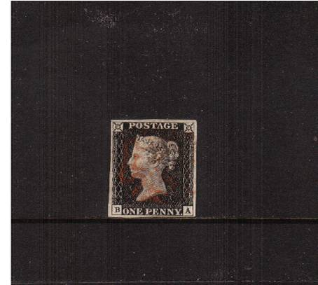 view larger image for SG 2 (1840) - 1d Black from Plate 3 lettered ''B-A''<br/>