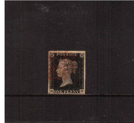 view larger image for SG 2 (1840) - 1d Black from Plate 1b lettered ''H-D''<br/>
