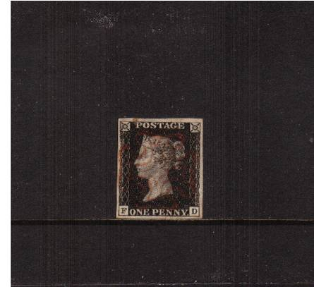 view larger image for SG 2 (1840) - 1d Black from Plate 5 lettered ''F-D''<br/>