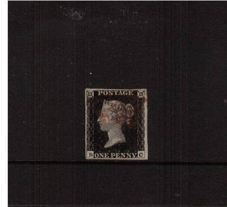 view larger image for SG 2 (1840) - 1d Black from Plate 1a lettered ''B-C''<br/>