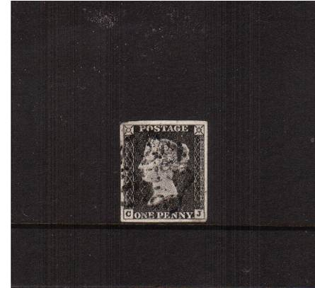 view larger image for SG 3 (1840) - 1d Grey-Black from Plate 1a <br/>lettered ''C-J''<br/>