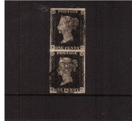 view larger image for SG 2 (1840) - 1d Black vertical pair from Plate 1b lettered ''P-G'' - ''Q-G''''<br/>