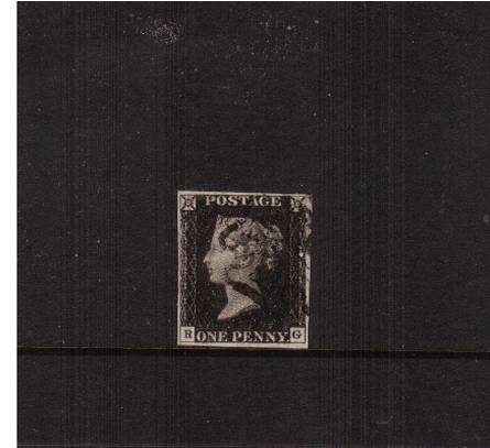 view larger image for SG 2 (1840) - 1d Black from Plate 1b lettered ''R-G''<br/>