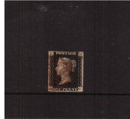 view larger image for SG 2 (1840) - 1d Black from Plate 5 lettered ''Q-G''<br/>