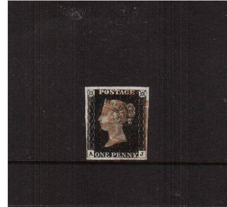 view larger image for SG 2 (1840) - 1d Black from Plate 6 lettered ''A-J''<br/>