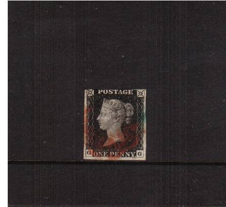 view larger image for SG 2 (1840) - 1d Black lettered ''G-G''<br/>