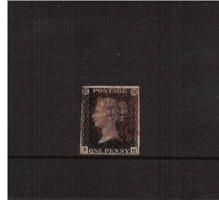 view larger image for SG 2 (1840) - 1d Black lettered ''E-H''<br/>