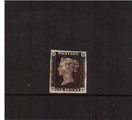view larger image for SG 2 (1840) - 1d Black from Plate 1b lettered ''S-B''<br/>