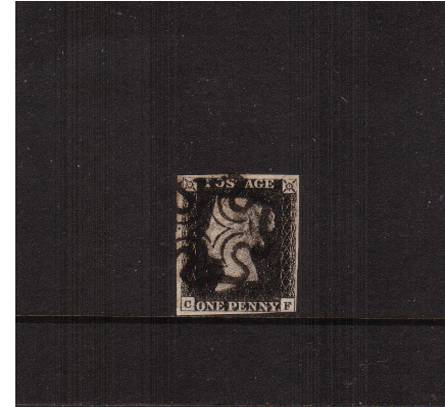view larger image for SG 2 (1840) - 1d Black from Plate 4 lettered ''C-F''<br/>