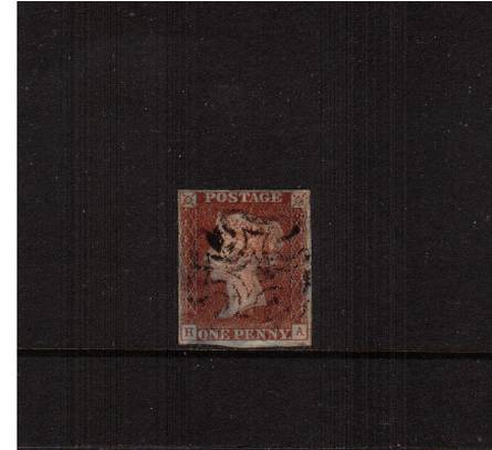 view larger image for SG 7 (1841) - 1d Red-Brown from Plate 9<br/>lettered ''H-A''. A four margined stamp but with horizintal crease.<br/>SG Cat �190
