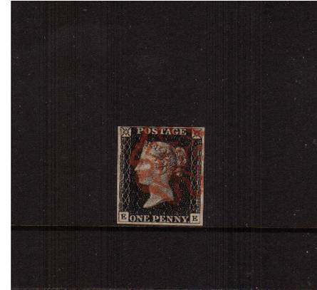 view larger image for SG 2 (1840) - 1d Black from Plate 2 lettered ''E-E''<br/>