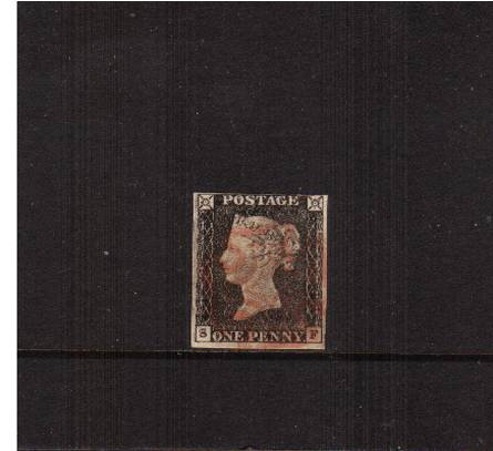 view larger image for SG 2 (1840) - 1d Black from Plate 1a lettered ''S-F''<br/>