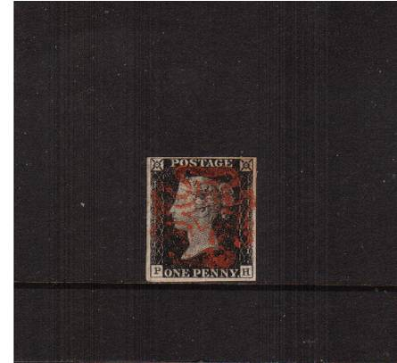view larger image for SG 2 (1840) - 1d Black from Plate 1a lettered ''P-H''<br/>