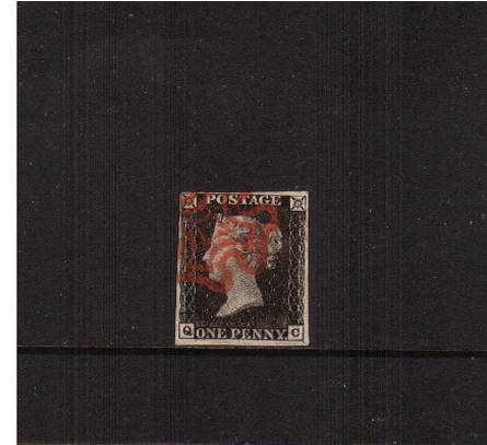 view larger image for SG 2 (1840) - 1d Black from Plate 4 lettered ''Q-C''<br/>
