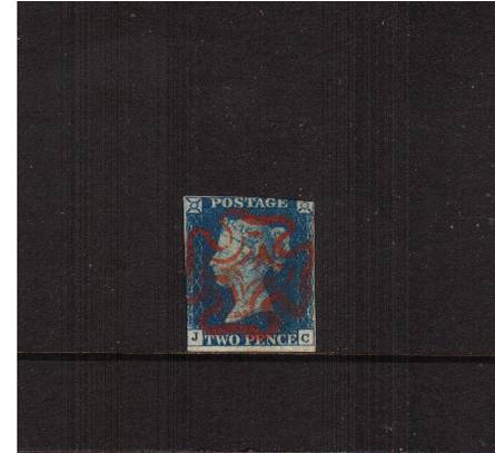view larger image for SG 5 (1840) - 2d Blue from Plate 1 lettered ''J-C''<br/>