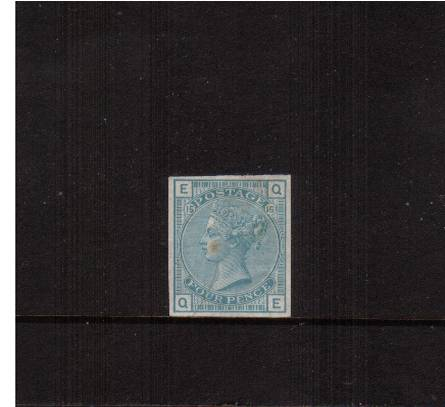 view larger image for SG 160trial (1880) - 4d imperforate <b>COLOUR TRIAL</b> in TURQUOISE-BLUE from Plate 15 lettered ''Q-E''. The stamp does have a central tone spot on the Queens' cheek.<br/>SG Cat 250