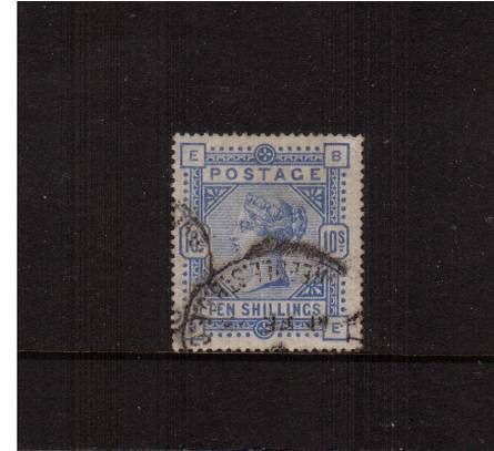 view larger image for SG 183a (1883) - 10/- Pale Untramarine lettered ''B-E''<br/>