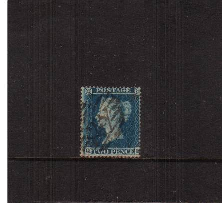 view larger image for SG 20a (1855) - 2d Blue - Blued Paper - Die II - Small Crown - Perf 16<br/>