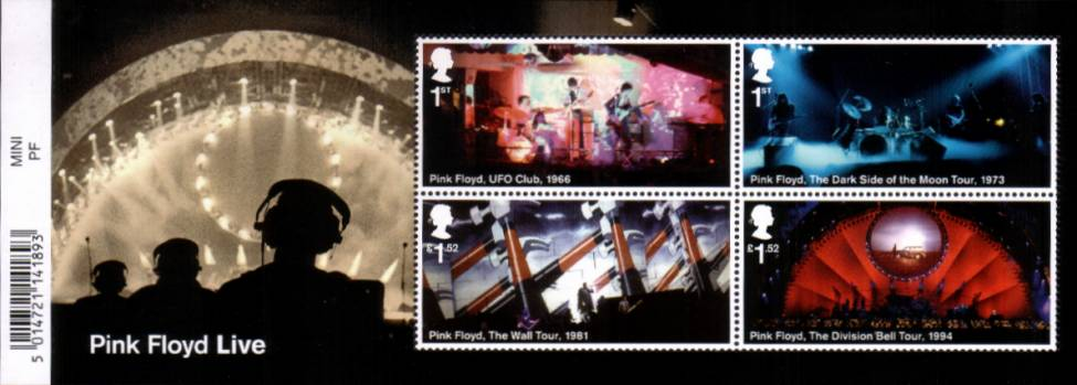 view larger image for SG MS3855 (7 July 2016) - Pink Floyd Live<br/>minisheet with barcode tab at left (easily removed)