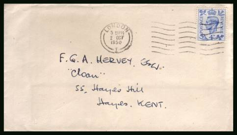 view larger back view image for 4d Light Untramarine on a hand addressed FDC cancelled with a LONDON ''wavy line'' clearly dated 2 OCT 1950.