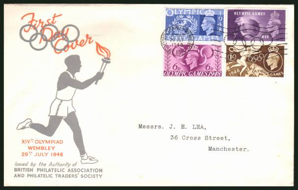 view larger back view image for Olympic Games - London set of four on an illustrated printed addressed cover cancelled with the OLYMPIC GAMES - WEMBLEY - GT. BRIT. ''slogan'' cancel showing the Olympic rings dated 29 July 1948. A very bright and fresh cover.