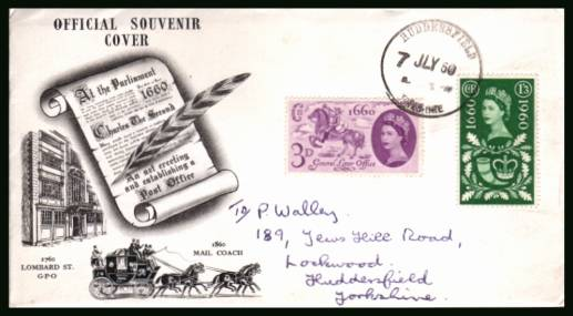 view larger back view image for General Letter Office set of two on an illustrated hand addressed FDC cancelled with a firm strike of a HUDDERSFIELD handstamp dated 7 JLY 60