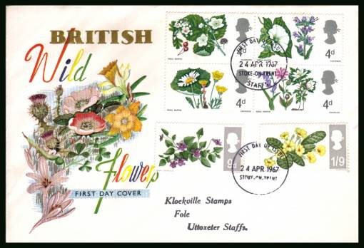 view larger back view image for British Wild Flowers set of six on a hand stamp  addressed colour FDC cancelled with a  FDI cancel STOKE-ON-TRENT STAFFS dated 24 APR 1967.