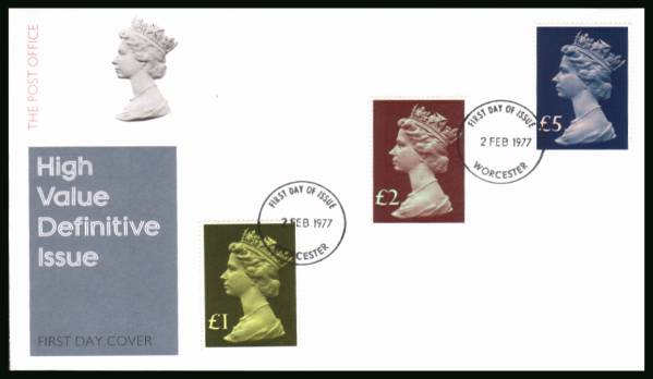 view larger back view image for The Machin High Value set of three on an unaddressed official Post Office FDC cancelled with two strikes of the WORCESTER FDI cancel dated 2 FEB 1977