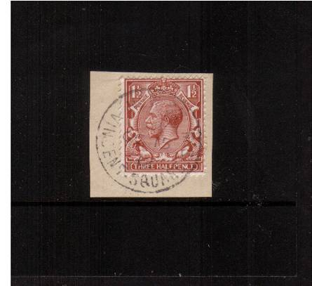 view larger image for SG 362 (1912) - 1�d Red-Brown<br/>on piece with a crisp VINCENT SQUARE SW (London)steel CDS dated OC 15 12 for the<br/><b> FIRST DAY OF ISSUE</b>. <br/>The FDC is catalogued at �900.