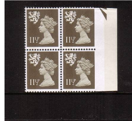 view larger image for SG S36var (1981) - <b>SCOTLAND</b> 11�p Drab <br/>A superb unmounted mint right side marginal ''arrow'' block of four showing the SG unlisted variety 'Imperforate between stamp and margin' 