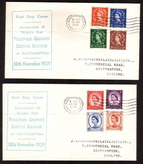 view larger back view image for WILDINGS - The Phosphor-Graphite set of eight on a matched pair of ''J SANDERS'' First Day Covers each cancelled with the SOUTHAMPTON ''wavy'' line cancel. A scarce pair of covers to find. Superb!