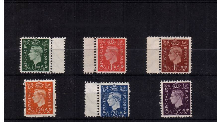 view larger image for SG 462-467 forgery (1937) - The complete set of six NAZI propaganda forgeries ''DARK COLOURS'' as issued with no gum on distinctive watermarked paper, The perforations are completely wrong plus at the top of the crown is the Jewish ''Star of David''!