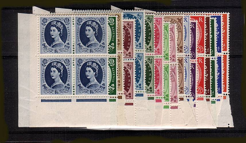 view larger image for SG 515-531 (1952) - The Tudor Corwn complete set of seventeen in superb unmounted mint SW corner marginal blocks of four thus clearly showing the watermark. Superb!