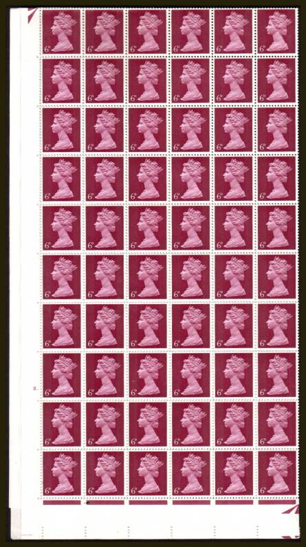 view larger image for SG 736 (1967) - 6d Bright Reddish Purple - 2 Bands - Cylinder 2 DOT