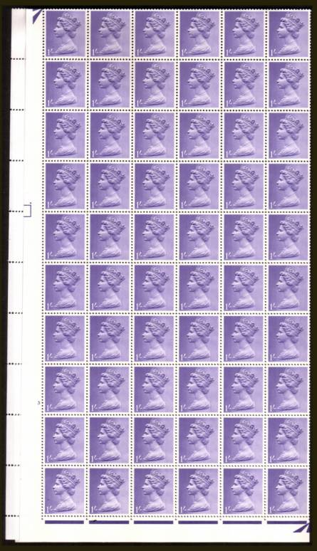 view larger image for SG 742 (1967) - 1/- Light Bluish Violet - 2 Bands - Cylinder 3 NO DOT