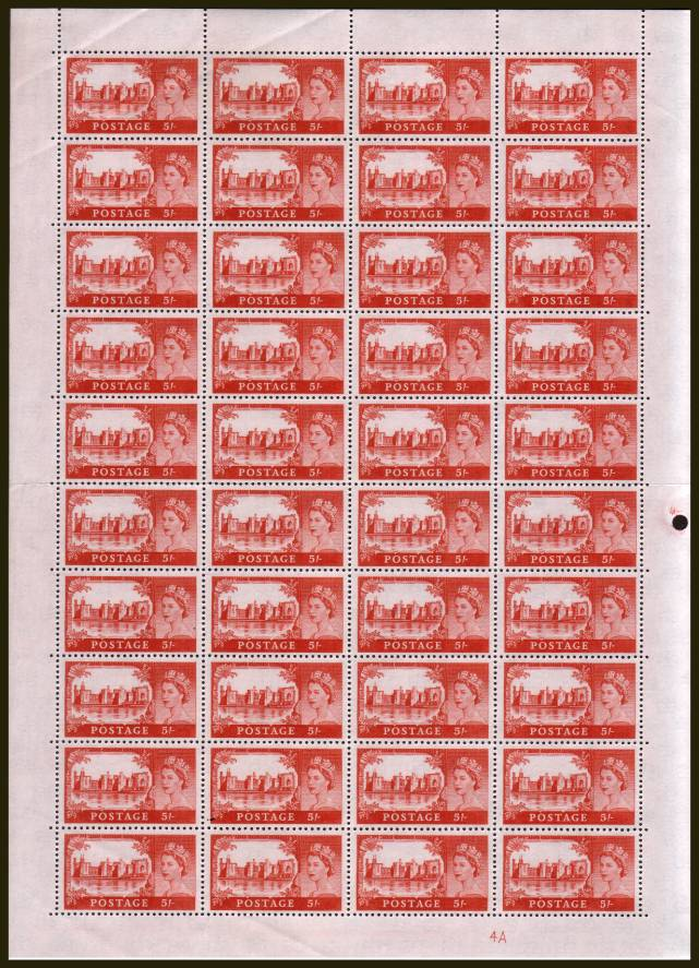 view larger image for SG 596a (1963) - Castles - Bradbury - 5/- Red