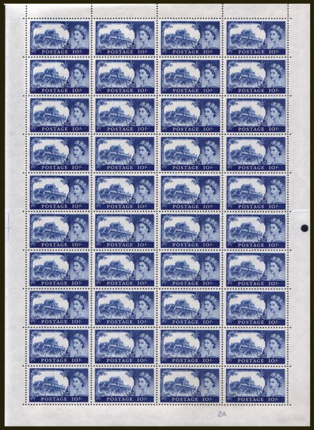 view larger image for SG 597a (1963) - Castles - Bradbury - 10/- Bright Untramarine