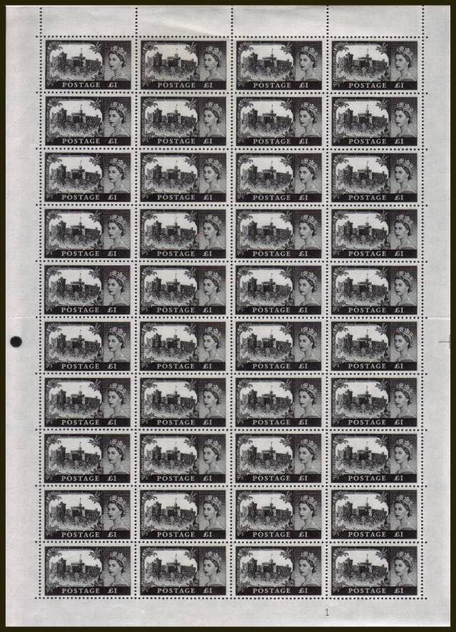 view larger image for SG 598a (1963) - Castles - Bradbury - �1 Black