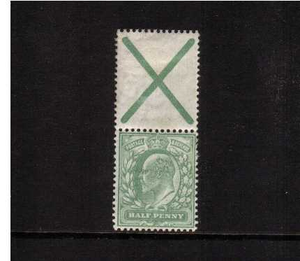 view larger image for SG 218a (1906) - �d Yellowish-Green stamp with INVERTED watermark in pair with 'St Andrew's Cross label' lightly mounted mint. SG Spec M3f Cat �250