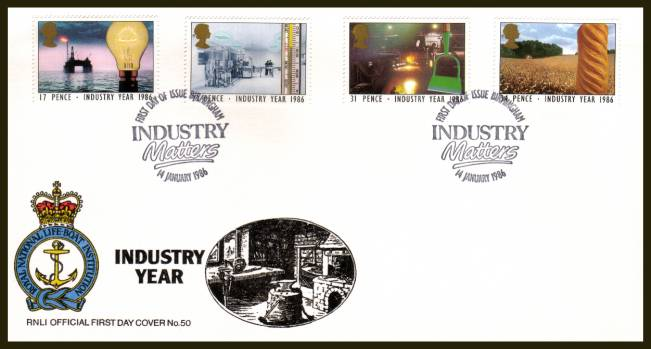 view larger back view image for Industry Year set of four on an unaddressed RNLI Official First Day Cover cancelled with two strikes of the INDUSTRY MATTERS - BIRMINGHAM