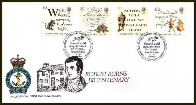 view larger back view image for Robert Burns set of four on an unaddressed RNLI Official First Day Cover cancelled with two strikes of the special  