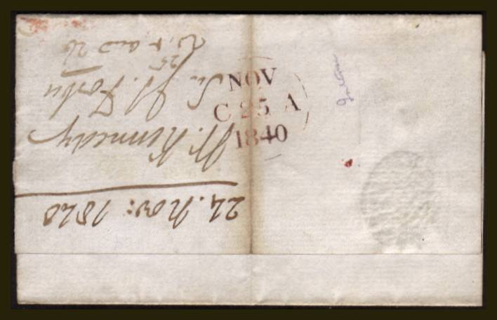 view larger back view of image for 1d Black (Intense) from Plate 5 lettered ''A-D'' with four very good margins (huge at top) on a small part local entire cancelled with a bright red Maltese Cross. Backstamped NOV 25 1840. SG Spec Cat AS24. SG Cat �775