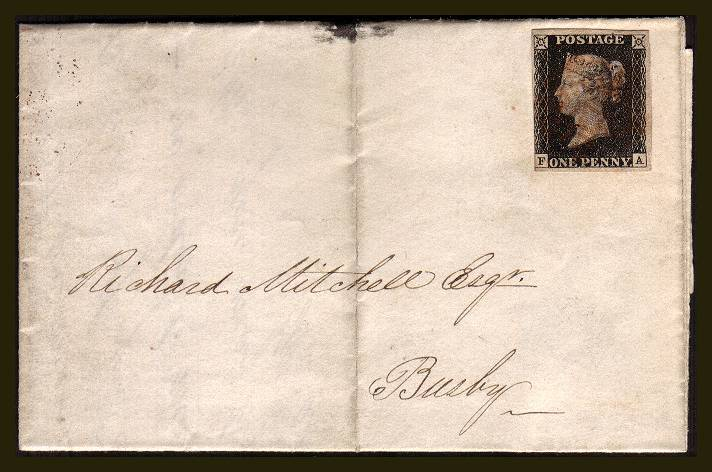 view larger front view of image for 1d Black from PLate 4 lettered ''F-A'' with three, nearly four margins cancelled with a feint Red Maltese Cross on a small entire backstamped GLASGOW 28 NOV 1840 to BUSBY (just south of Glasgow) SG SPEC Cat AS23 SG Cat �775