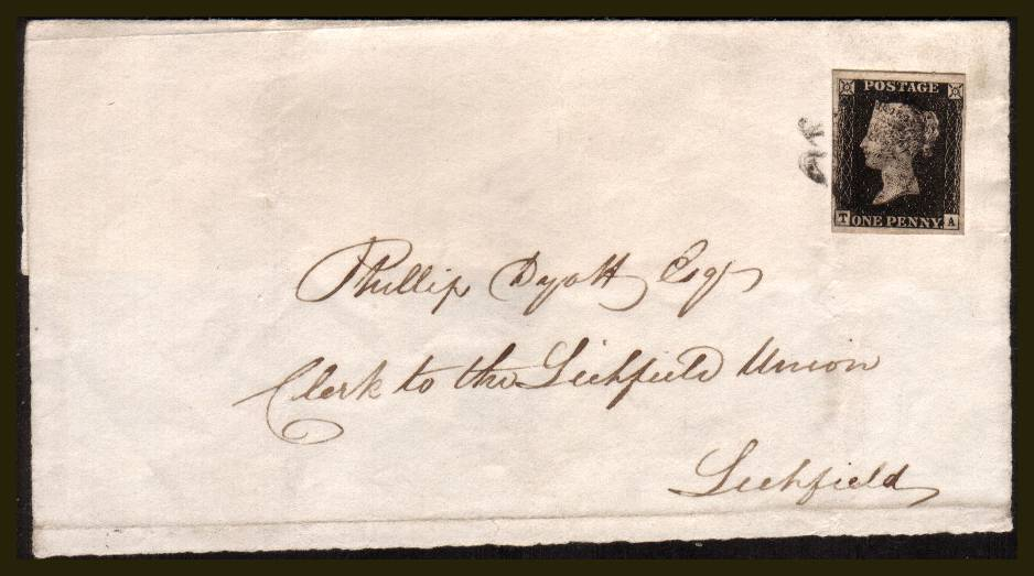 view larger front view of image for 1d Black from Plate 4 lettered ''T-A'' with four large margins on a part entire cancelled with a Black Maltese Cross to Clerk of the Lichfield Mansion, Lichfield backstamped RUGELEY AP 22 1841