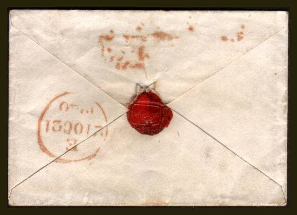 view larger back view of image for 1d Black (Grey) from Plate 2 lettered ''H-B'' with nearly four margins, touching at top left cancelled with a light Red Maltese Cross on a small complete envelope  to HARLEY ST, LONDON backstamped 21 OC 1840. SG SPEC Cat AS16